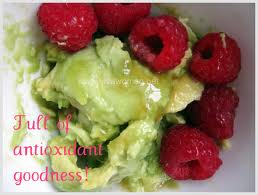 Avocado and rasberries