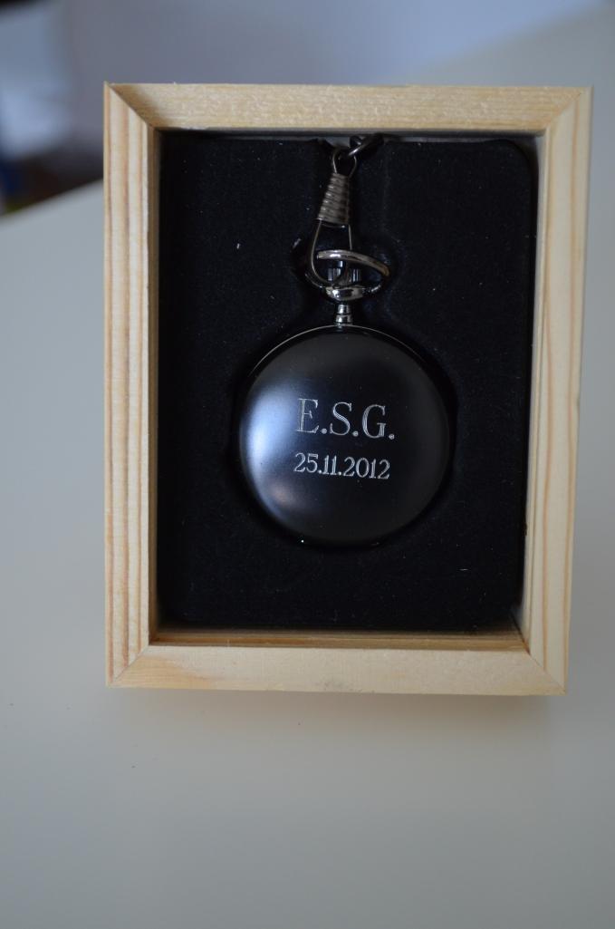 Engraved Black Pocket Watch
