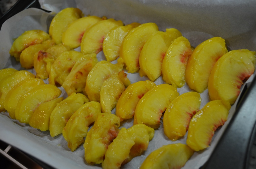 Sliced Peaches, Ready for the Freezer