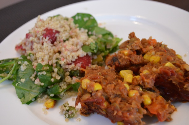 Lentil Loaf  with a side of Quinoa Salad